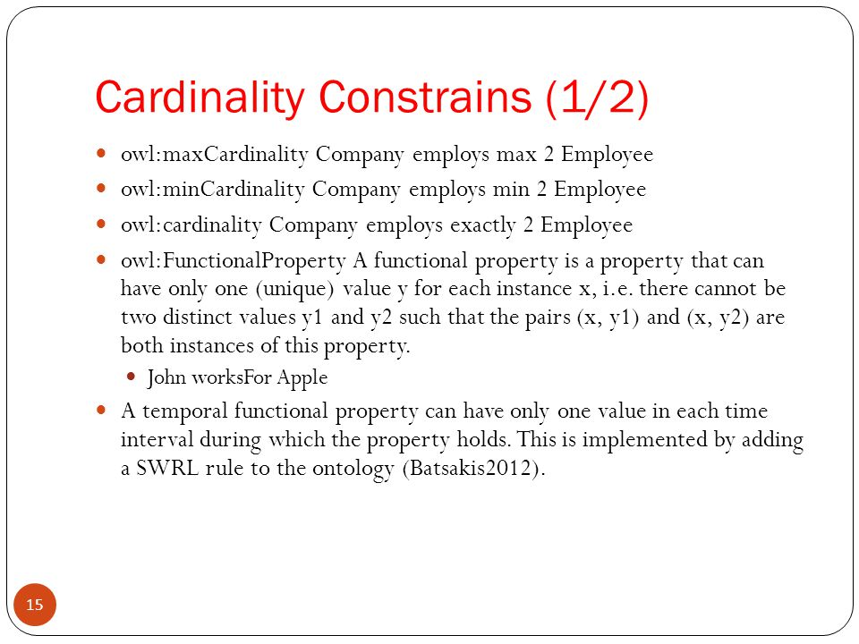 Cardinality Constrains (1/2)