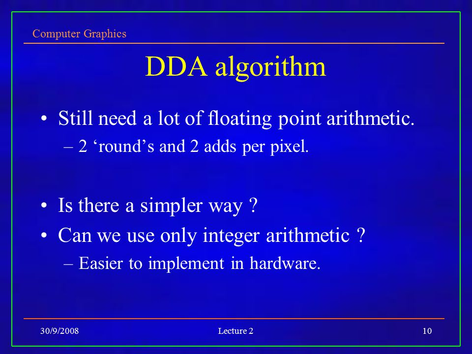 DDA algorithm Still need a lot of floating point arithmetic.