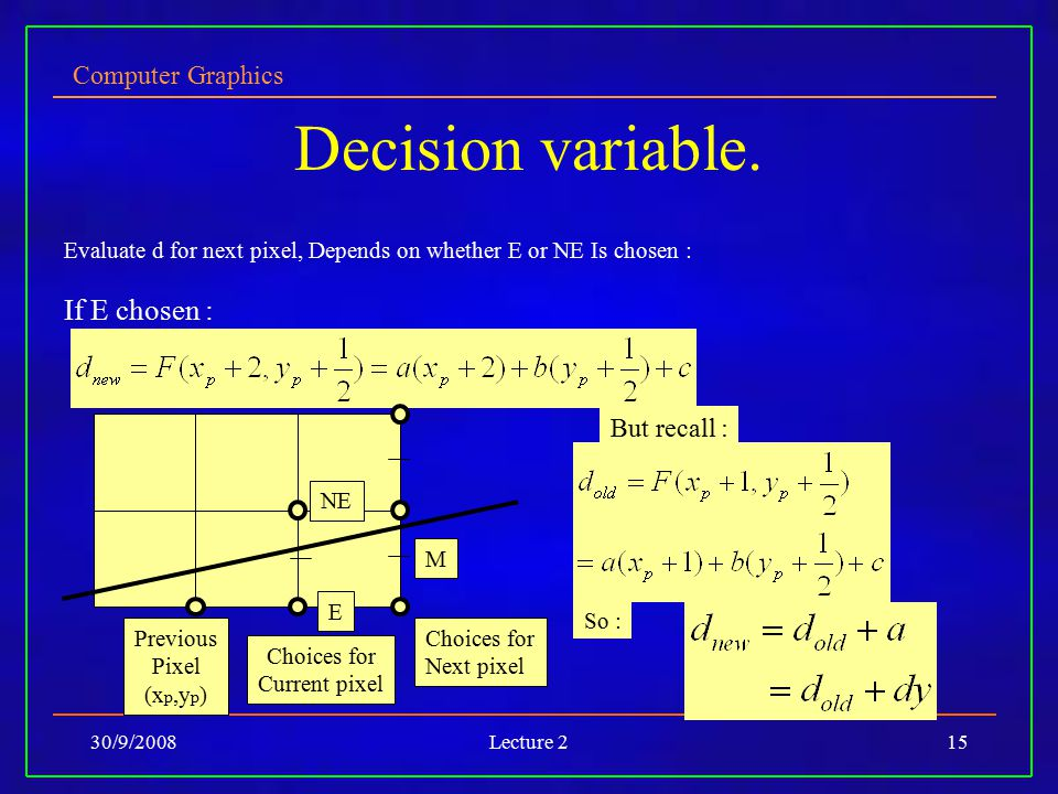 Decision variable. If E chosen : But recall :