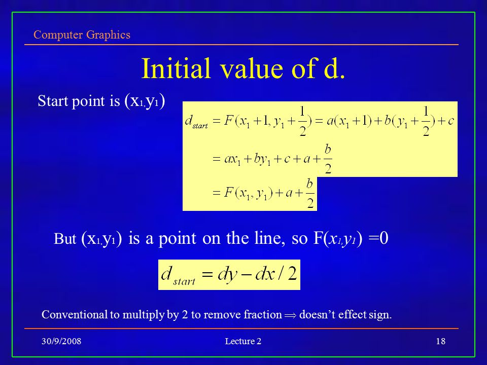 Initial value of d. Start point is (x1,y1)