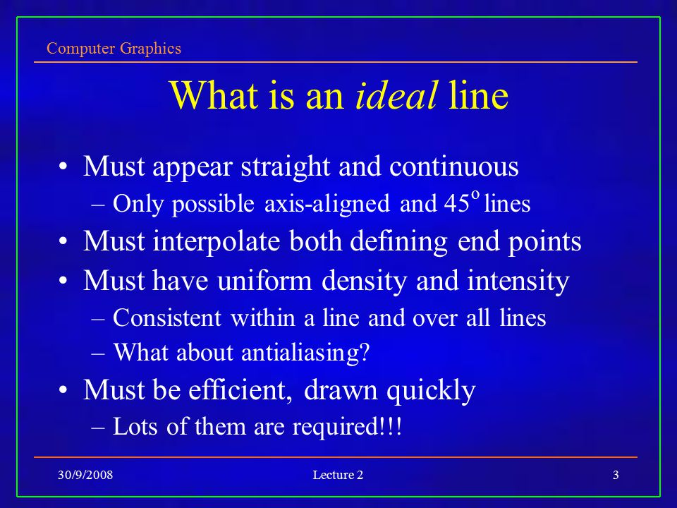 What is an ideal line Must appear straight and continuous