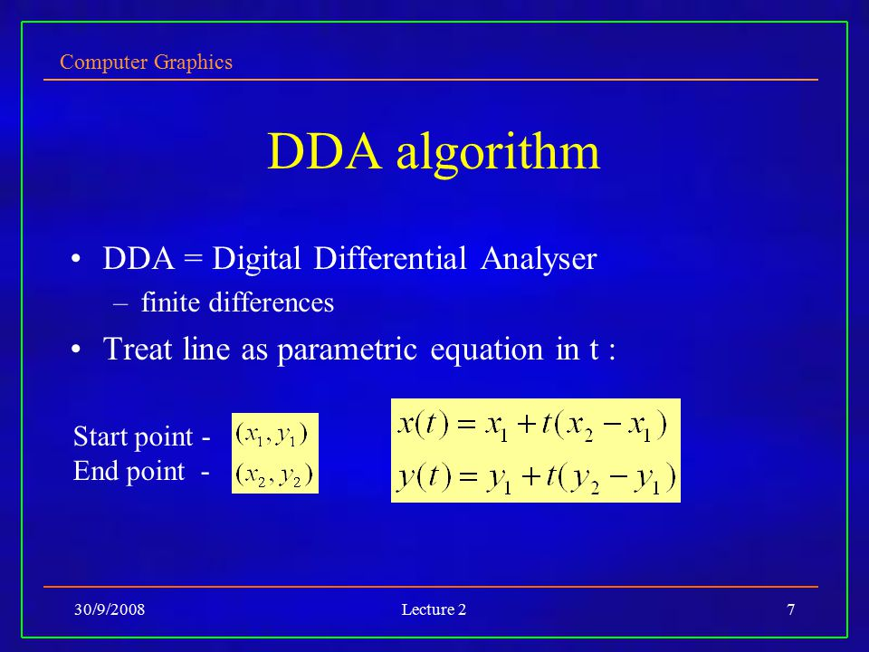DDA algorithm DDA = Digital Differential Analyser