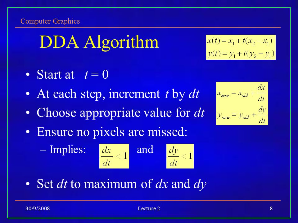 DDA Algorithm Start at t = 0 At each step, increment t by dt