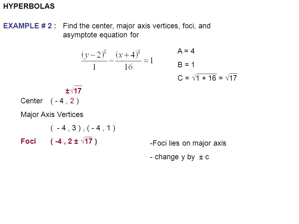 HYPERBOLAS EXAMPLE # 2 : Find the center, major axis vertices, foci, and asymptote equation for. A = 4.