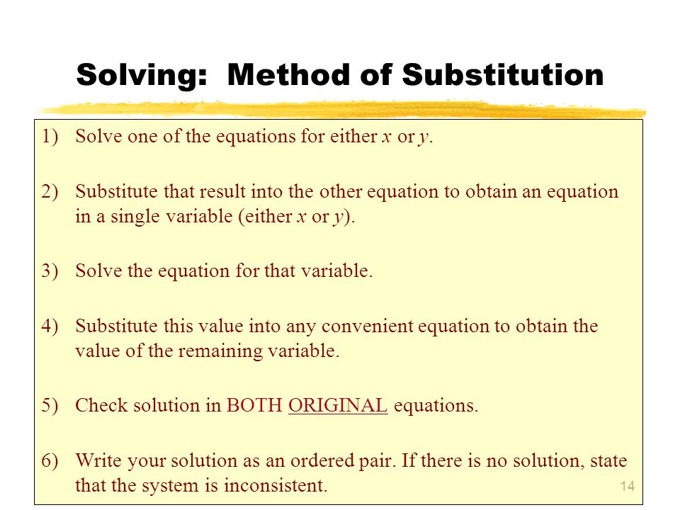 Solving: Method of Substitution