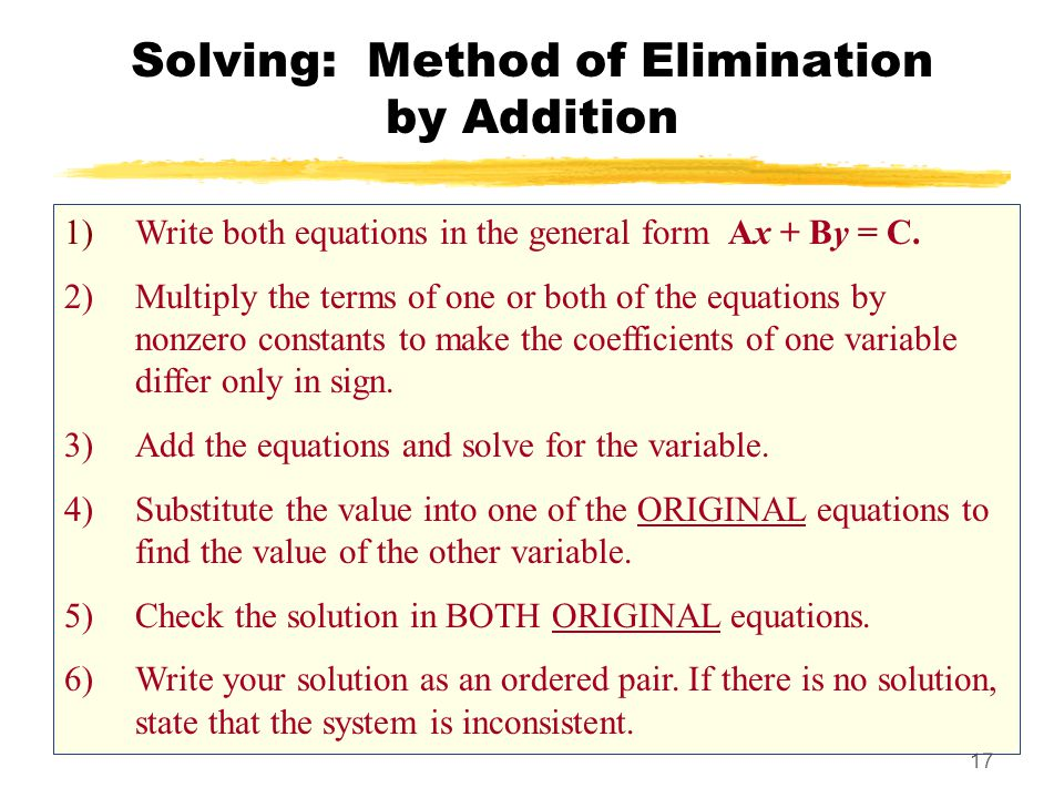 Solving: Method of Elimination by Addition