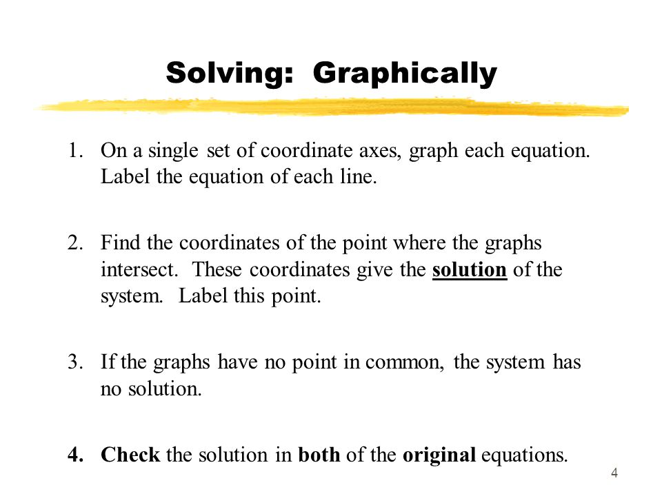 Solving: Graphically On a single set of coordinate axes, graph each equation. Label the equation of each line.