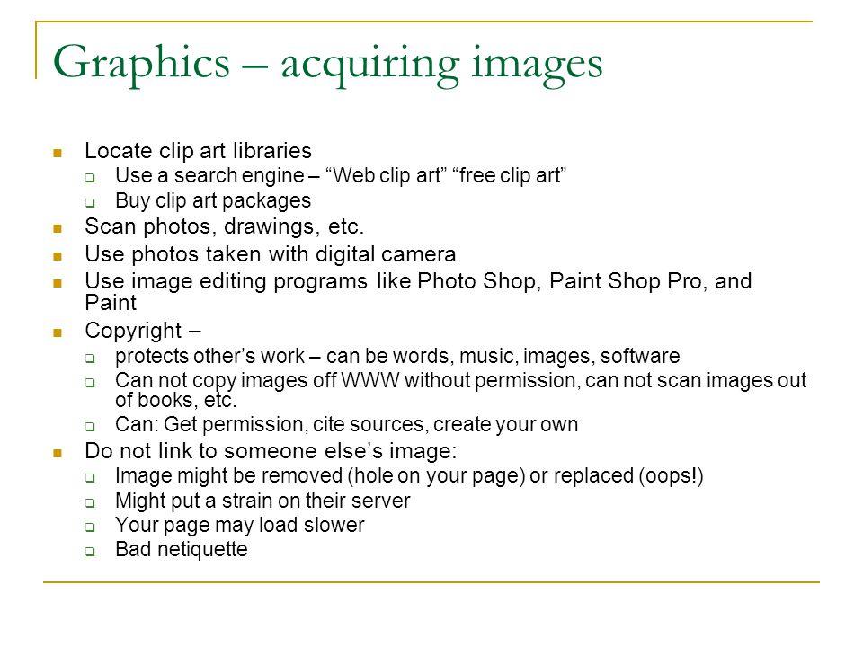 Graphics – acquiring images
