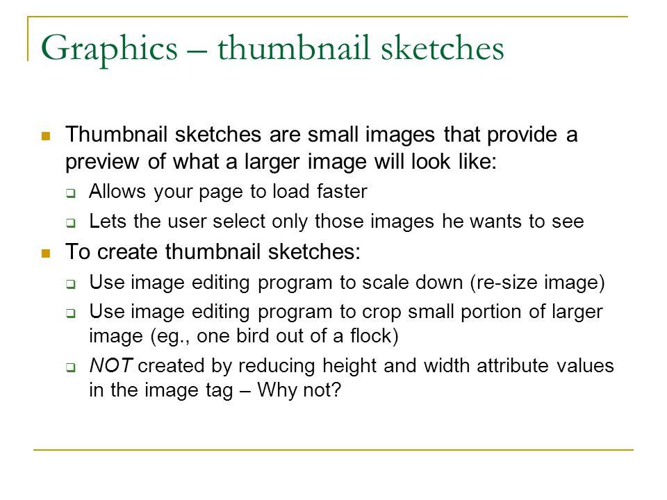 Graphics – thumbnail sketches