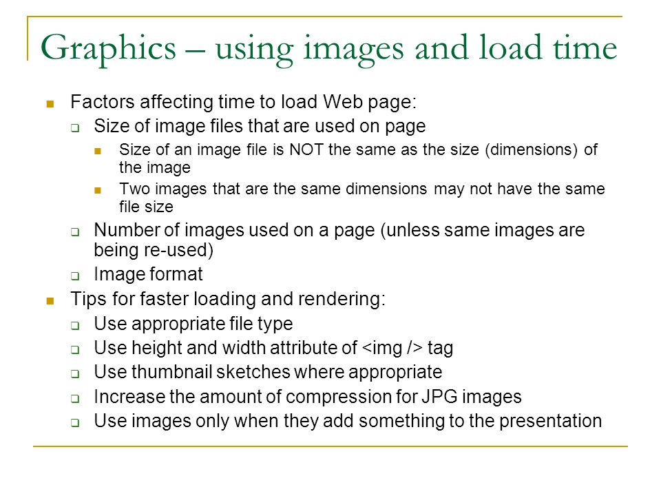 Graphics – using images and load time
