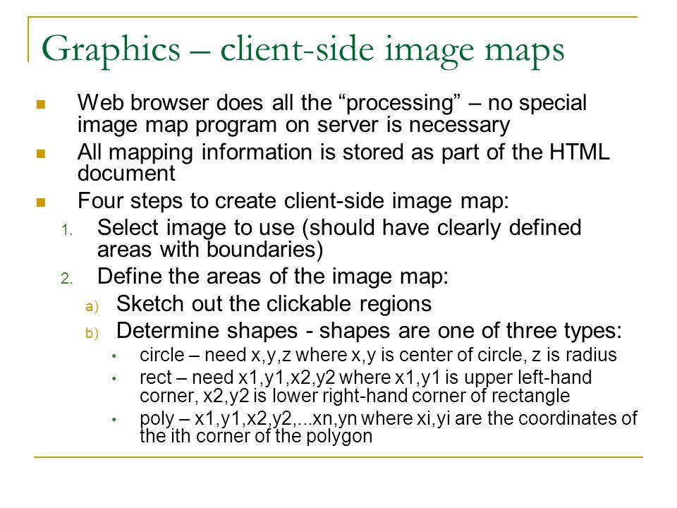 Graphics – client-side image maps
