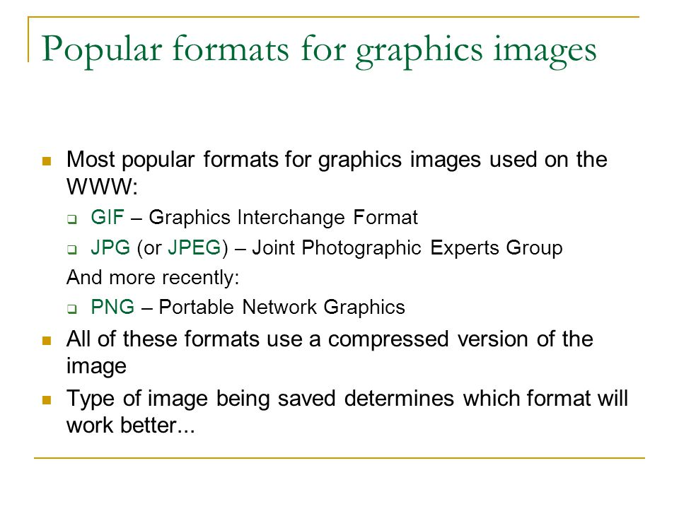 Popular formats for graphics images