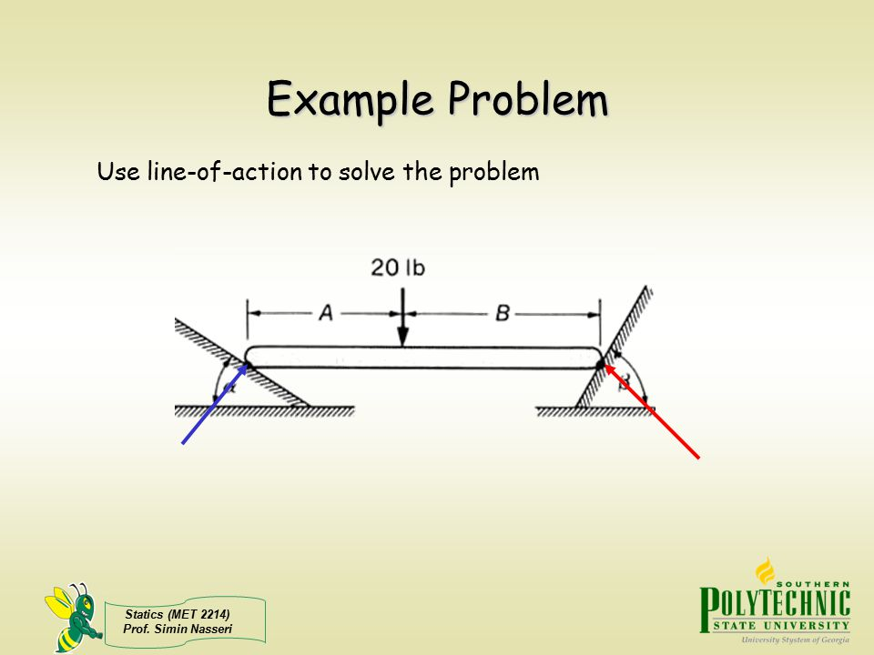 Example Problem Use line-of-action to solve the problem