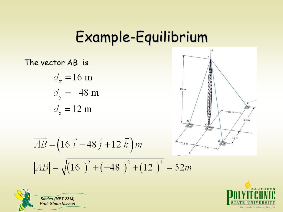 Example-Equilibrium The vector AB is