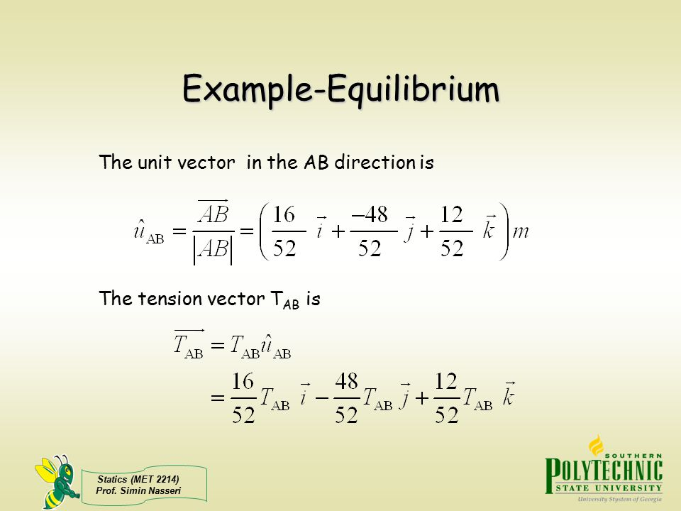 Example-Equilibrium The unit vector in the AB direction is