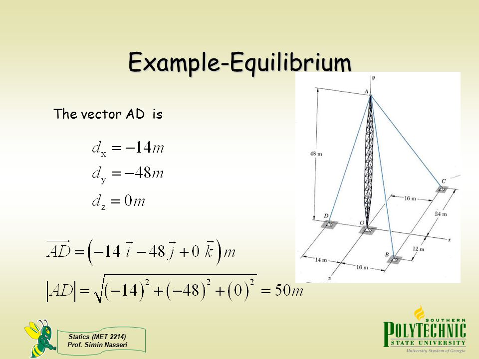 Example-Equilibrium The vector AD is