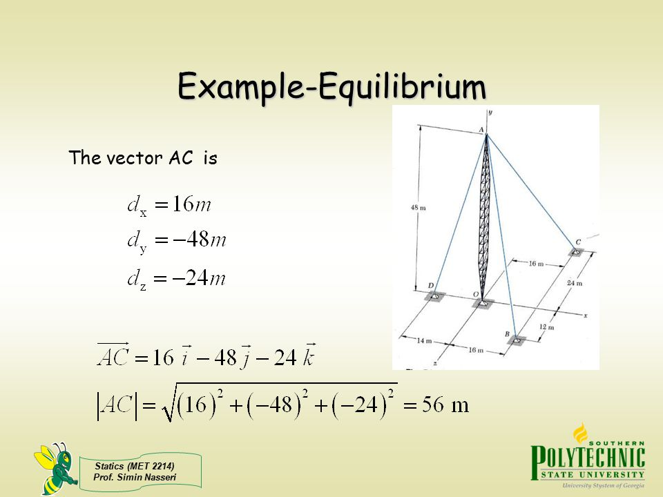 Example-Equilibrium The vector AC is