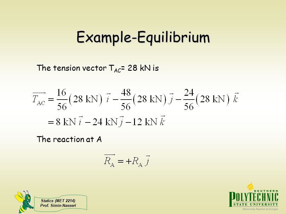 Example-Equilibrium The tension vector TAC= 28 kN is The reaction at A