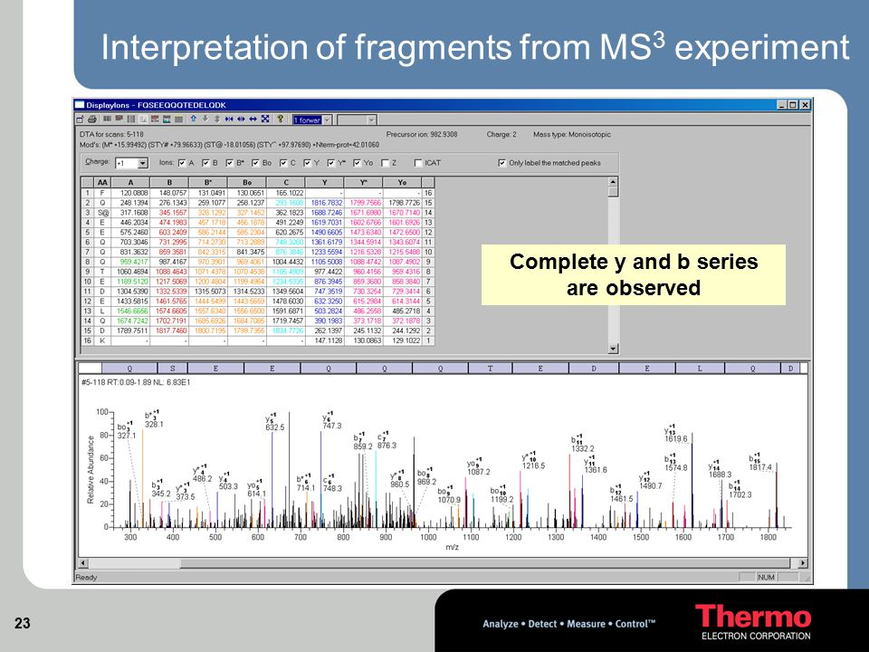 Interpretation of fragments from MS3 experiment