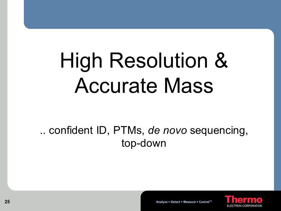 .. confident ID, PTMs, de novo sequencing, top-down