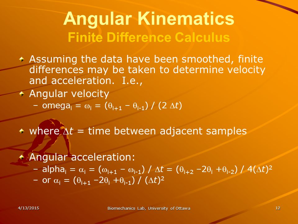 Angular Kinematics Finite Difference Calculus