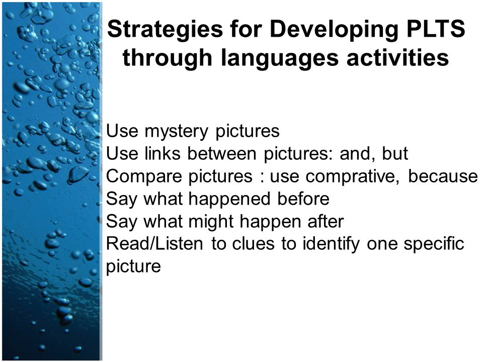 Strategies for Developing PLTS through languages activities