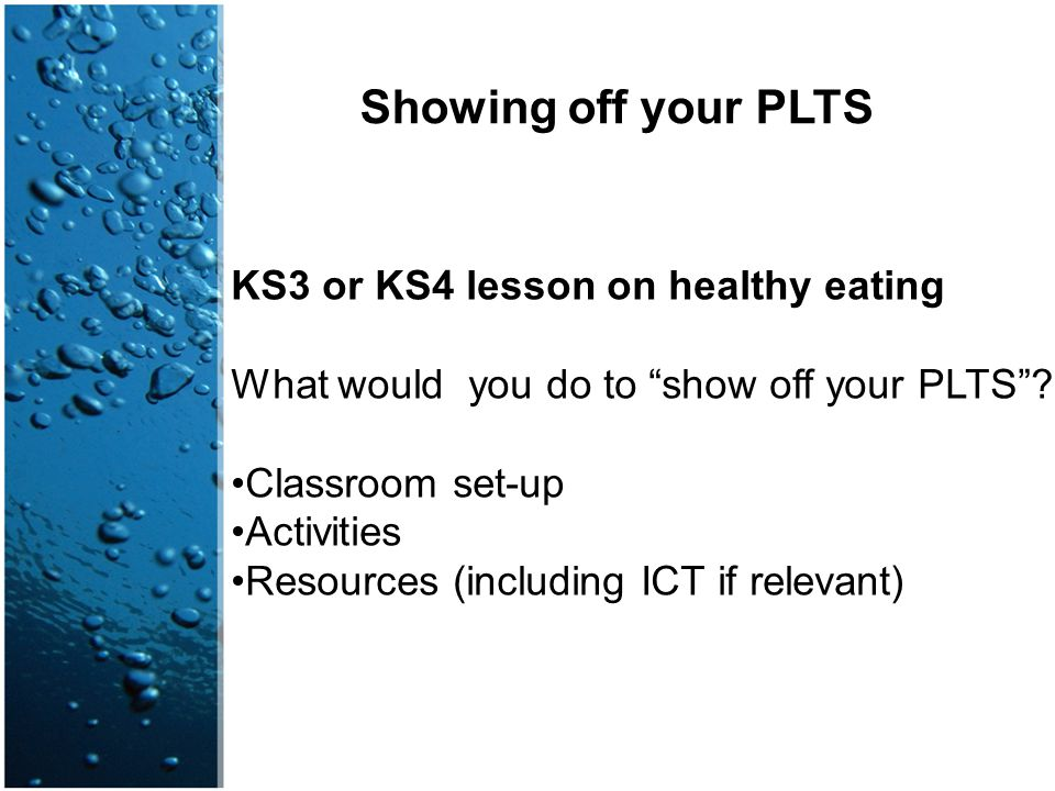 Showing off your PLTS KS3 or KS4 lesson on healthy eating
