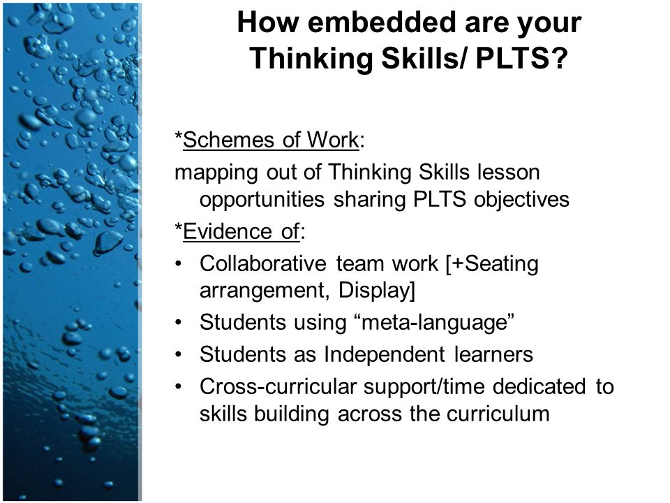 How embedded are your Thinking Skills/ PLTS