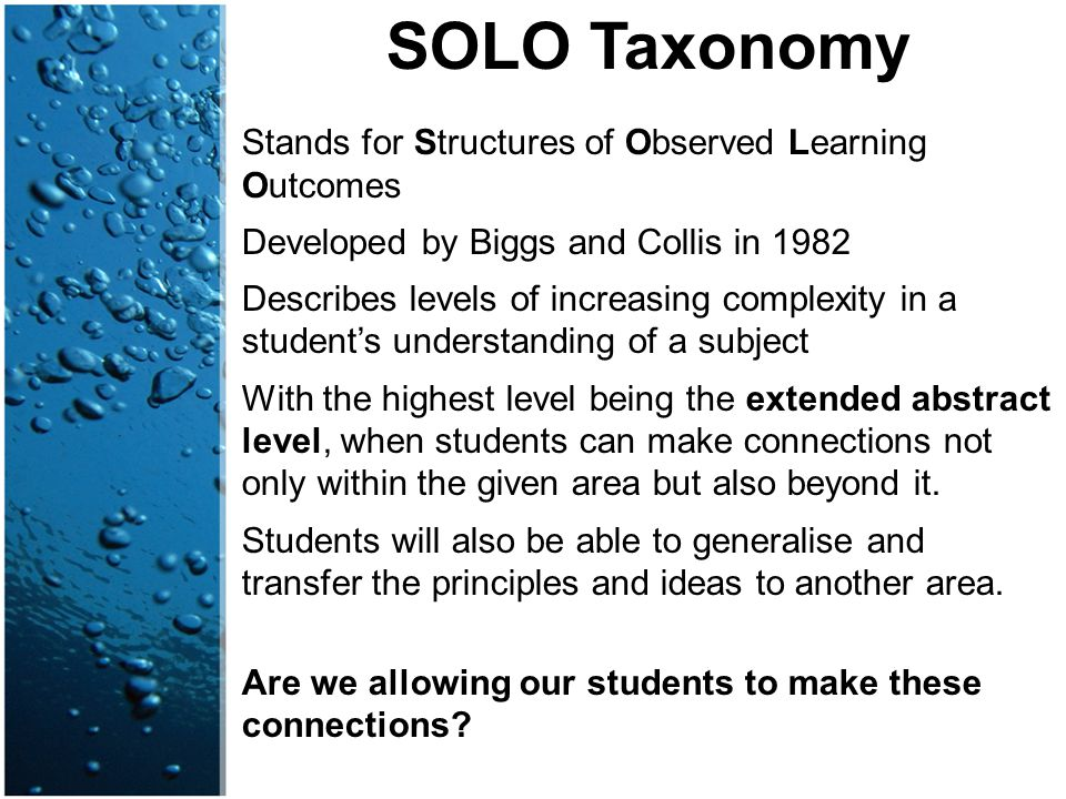 SOLO Taxonomy Stands for Structures of Observed Learning Outcomes