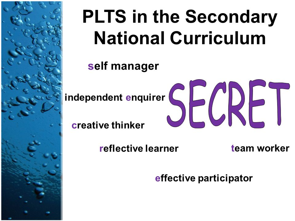 PLTS in the Secondary National Curriculum