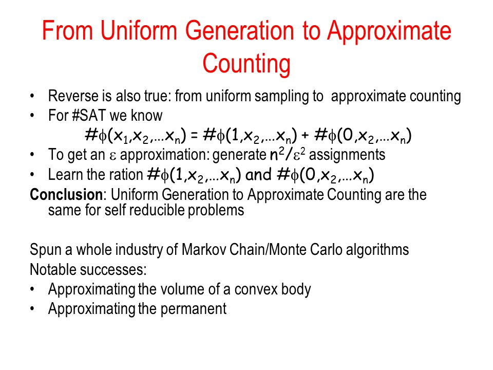 From Uniform Generation to Approximate Counting
