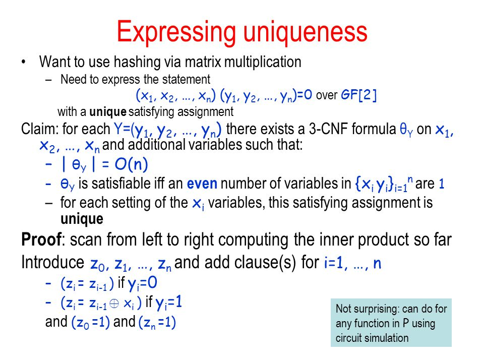 Expressing uniqueness