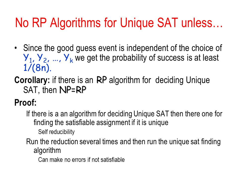 No RP Algorithms for Unique SAT unless…