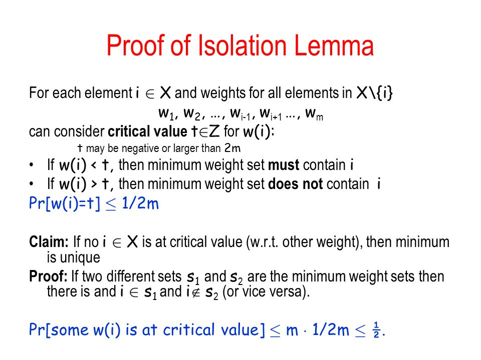 Proof of Isolation Lemma