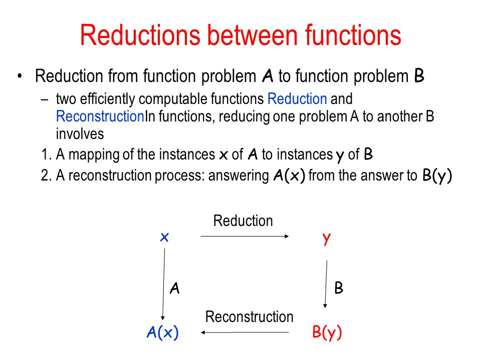 Reductions between functions