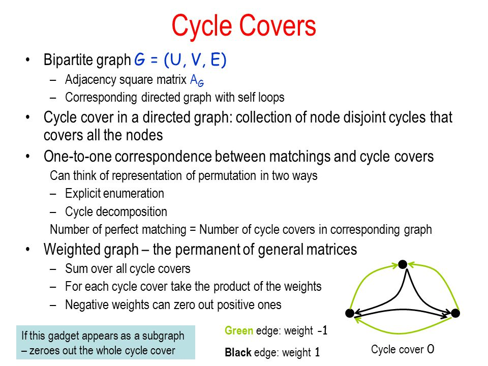 Cycle Covers Bipartite graph G = (U, V, E)