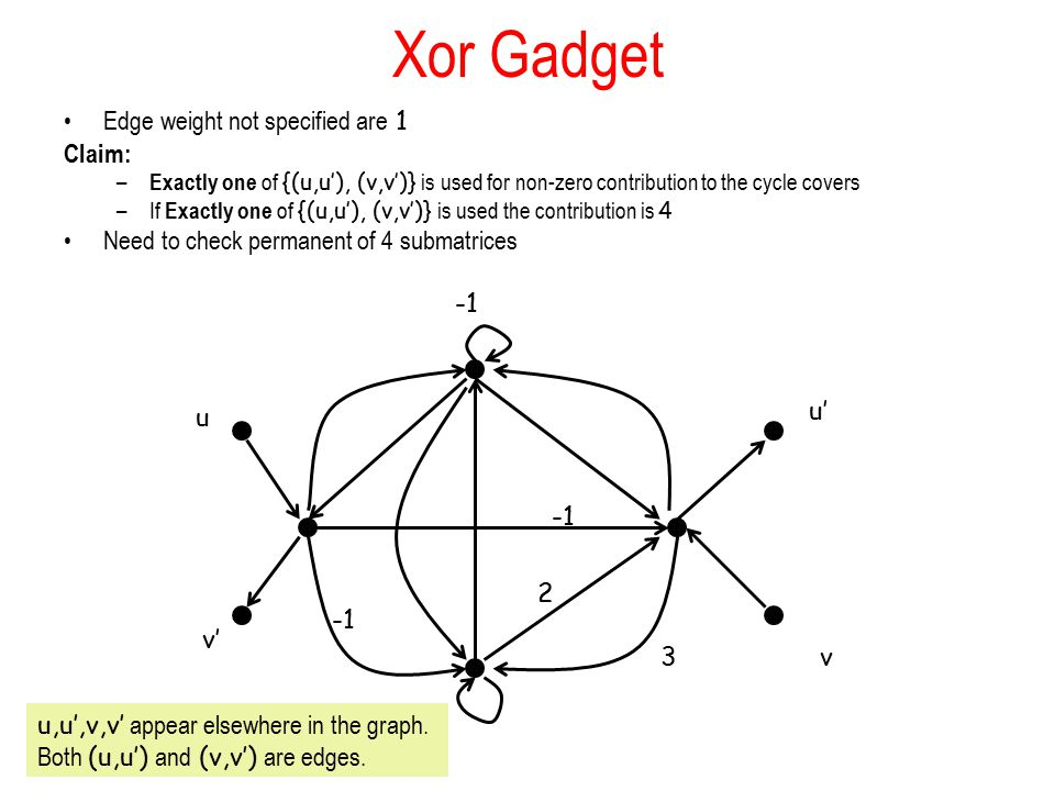 Xor Gadget Edge weight not specified are 1 Claim: