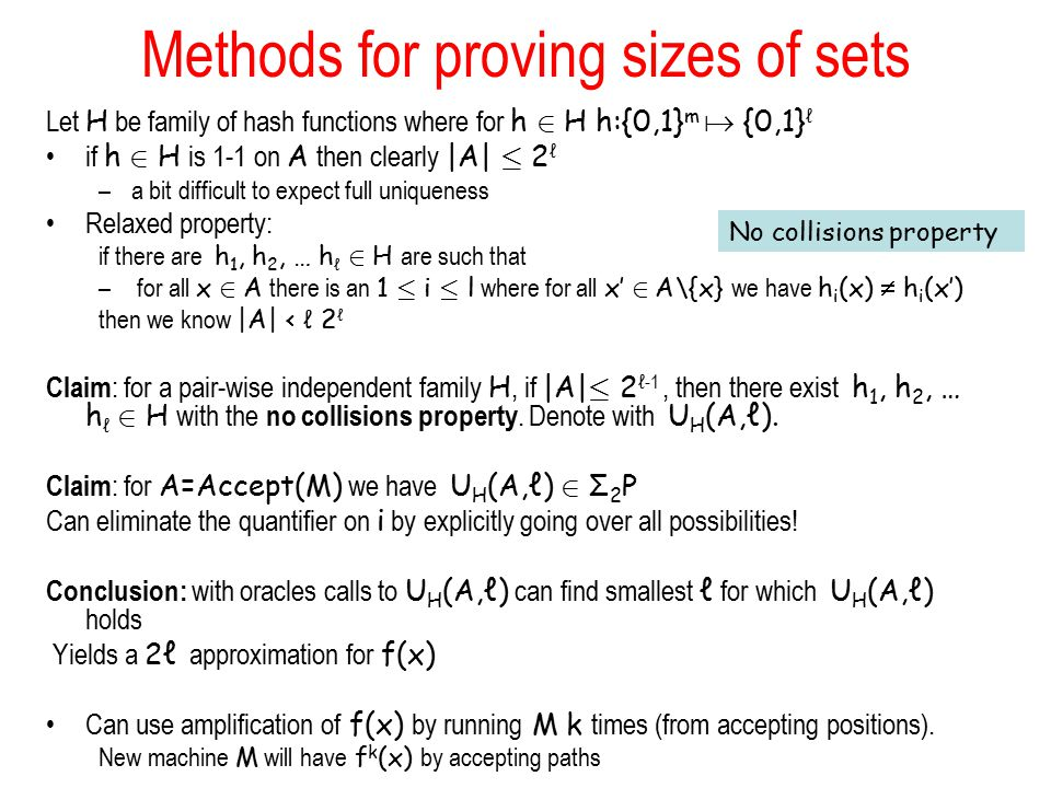 Methods for proving sizes of sets