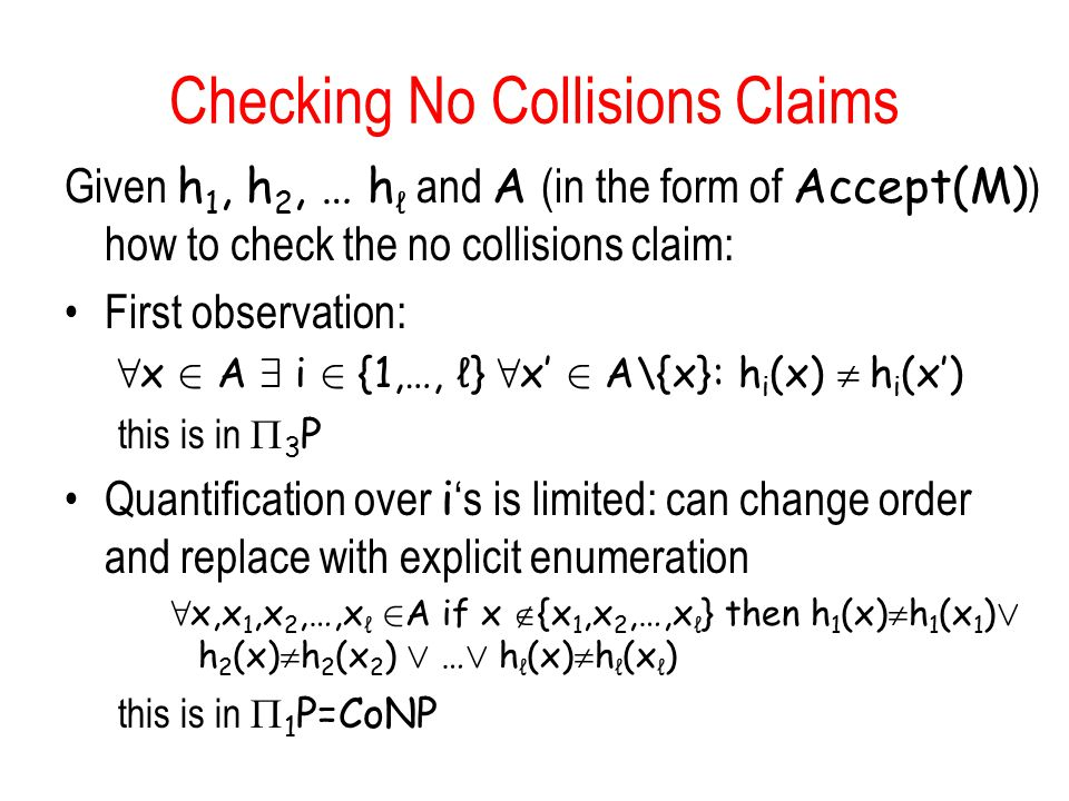 Checking No Collisions Claims