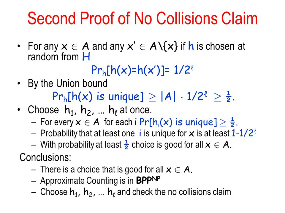 Second Proof of No Collisions Claim