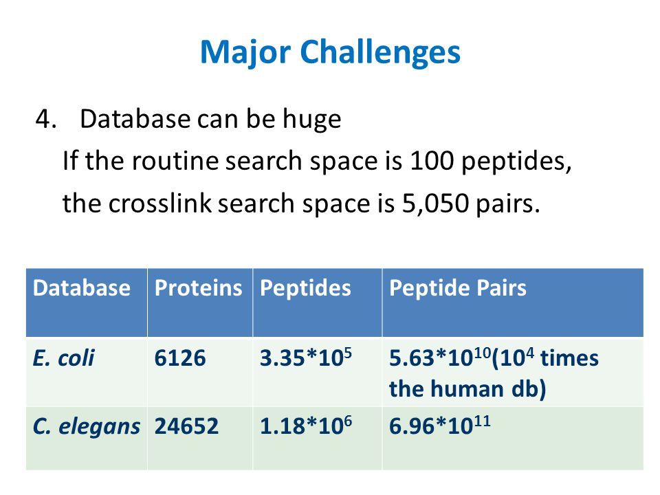 Major Challenges Database can be huge