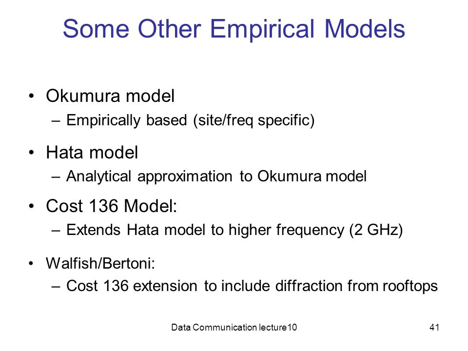 Some Other Empirical Models
