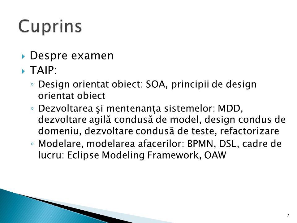 Cuprins Despre examen TAIP: