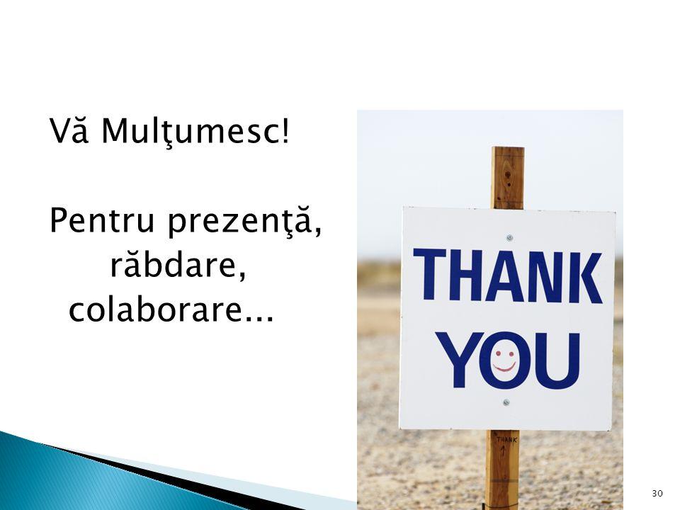 Vă Mulţumesc! Pentru prezenţă, răbdare, colaborare...