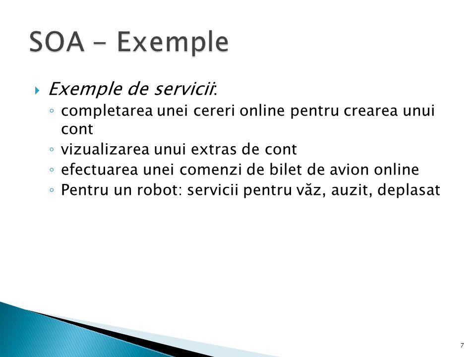 SOA - Exemple Exemple de servicii: