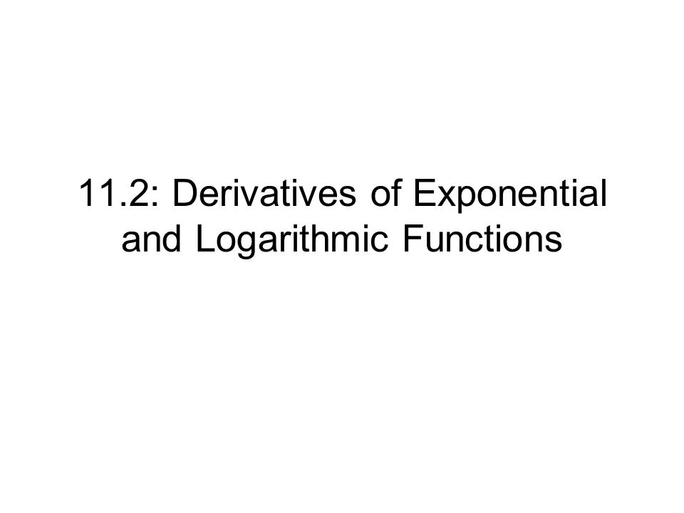 11.2: Derivatives of Exponential and Logarithmic Functions