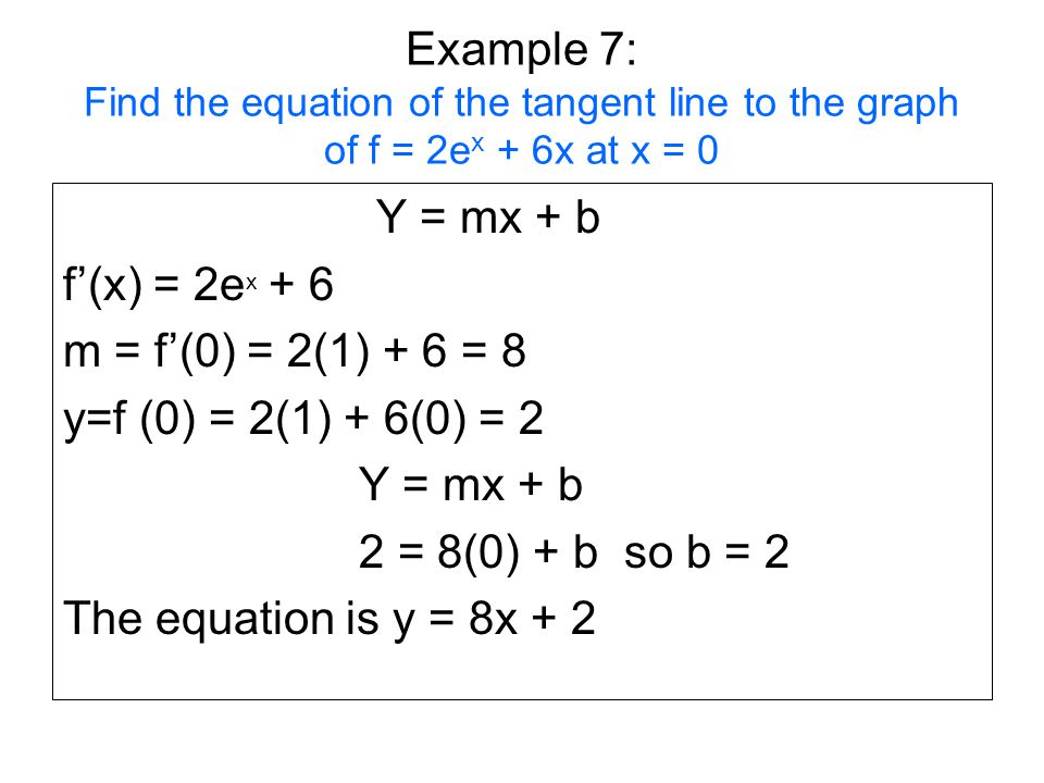 Example 7: Find the equation of the tangent line to the graph of f = 2ex + 6x at x = 0