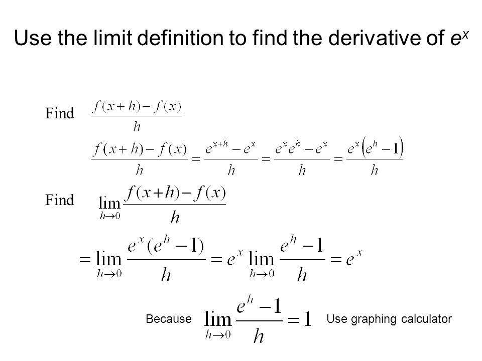 Use the limit definition to find the derivative of ex