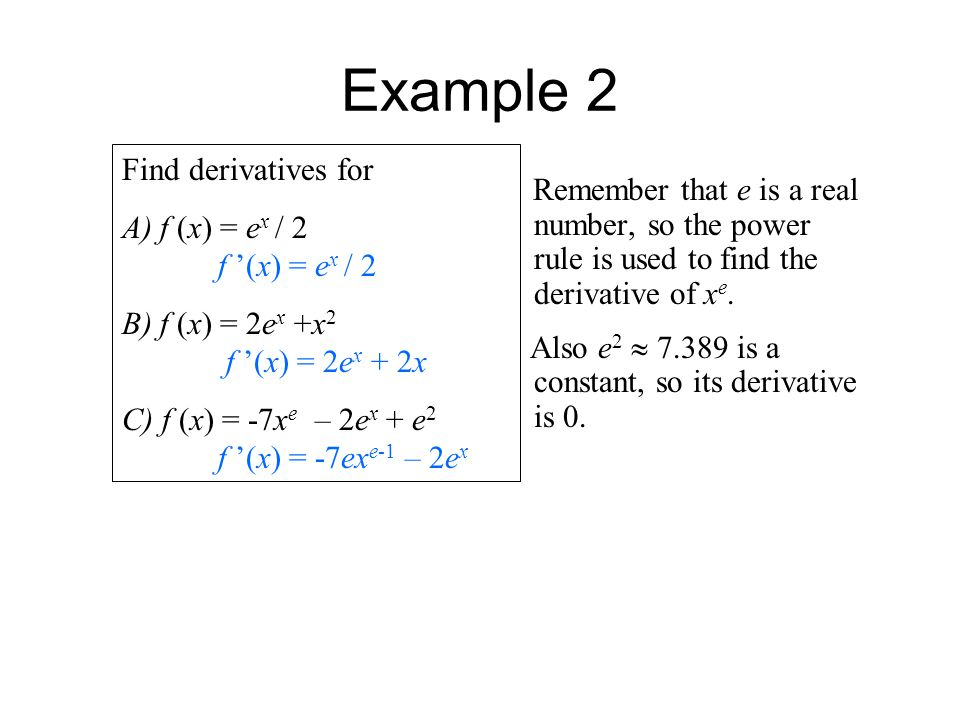 Example 2 Find derivatives for A) f (x) = ex / 2 f '(x) = ex / 2