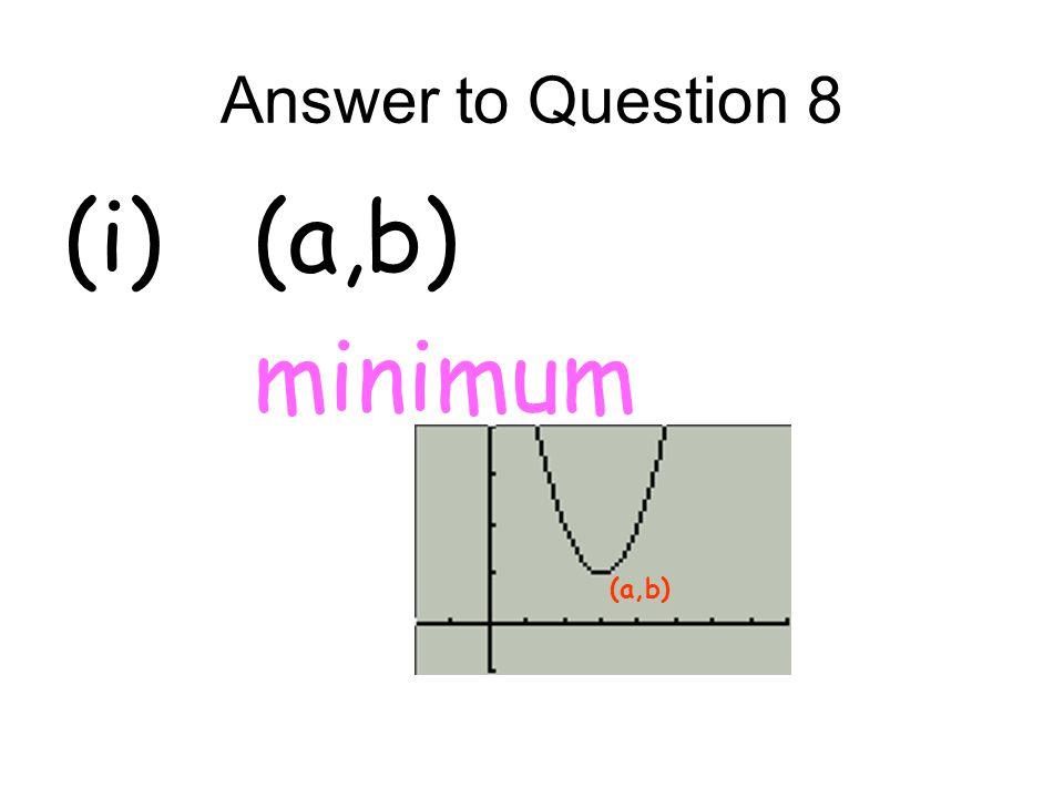 Answer to Question 8 (i) (a,b) minimum (a,b)